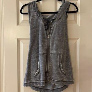 Super cute sleeveless zipup hoodie distressed gray